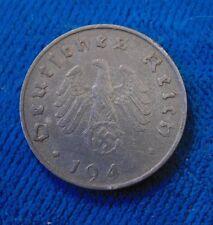 Nazi Germany Third 3rd reich 1944 A 10 Pfennig zinc Eagle swastika coin ERROR ?