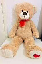 LARGE BEAR TADDY 85 CM SOFT STUFFED CUDDLY WITH RED BOW & RED HART ON FOOT LOVE