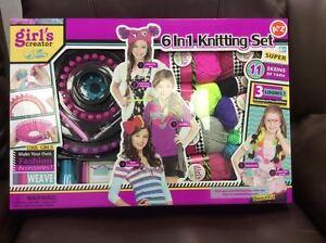 6 in 1 Kids Knitting Set Starter Kit Toy Wool Crafts Art Knit Children Girl