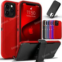 For iPhone 12 Mini 11 Pro Max Shockproof Protective Rugged Case + Belt Clip