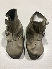 Child's White Leather Victorian Baby Button Up Shoes Boots • Vintage Antique