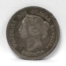 1880 H Canada 5 Cents Silver Km2 Victoria - F #01264126g
