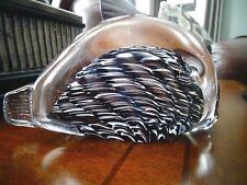 MID CENTURY Kosta REIJMYRE Glasbruk SWEDEN Art Glass Crimp FISH Sculpture label