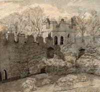 MAXSTOKE CASTLE WARWICKSHIRE Antique Watercolour Painting 1832  19TH CENTURY