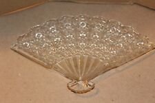 Pressed Glass Fan Shaped Candy Dish  Good Pre-Owned Condition