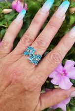 Bright Blue Topaz Marquise Cut Bypass Ring, Sterling Silver, Size 7