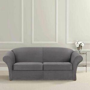 Sure Fit Stretch Suede heavyweight Loveseat size Slipcover stretch slate gray
