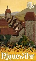 "Vintage Illustrated Travel Poster CANVAS PRINT Riquewihr 24""X16"""