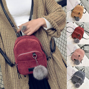 Women Corduroy Travel Mini Backpack School Shoulder Bag Rucksack Handbag Satchel