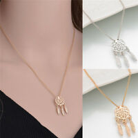 Women Dream Catcher Charm Pendant  Long Chain Necklace Gold Silver Jewelry WL