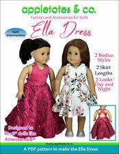 "American Girl Doll Sewing Pattern - Ella Dress/Gown 2-in-1 Pattern for 18"" Dolls"