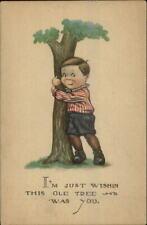 Boy Hugging Tree - Unsigned Charles Twelvetrees c1915 Postcard