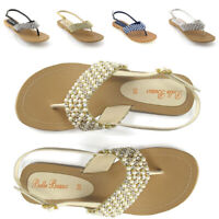 LADIES FLAT DIAMANTE TOE POST WOMENS PEARL HOLIDAY DRESSY PARTY SANDALS SIZE 3-8