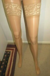 Glossy Shine Lace Top Hold Ups - Natural/One Size - New/Free Postage