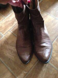 Ladies Genuine Cowhide Leather  short Western Cow Boy/girl Boots sz 6 euc