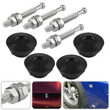 4x Billet Hood Pins Lock Clip Kit W/Quick-Pins Push Button For Universal Car SUV