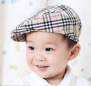Kids Children Houndstooth Beret Boys Cap Casquette Flat Peaked Sun Hat Khaki