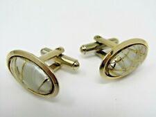 White w/ Gold Threads Art Cufflinks Vintage Men's Jewelry Gold Tone