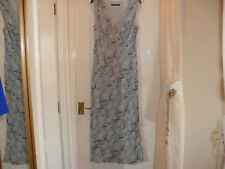 Windsmoor Pale Blue/Brown Long Sleeveless Patterned Dress-Size 18-Worn once only
