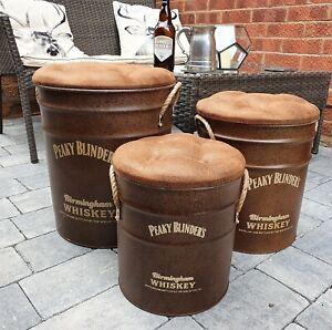 Peaky Blinders Whiskey Rusty Metal  Storage Barrel, Bin Stool  Seat - Set of 3