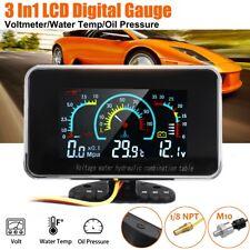 3 In1 LCD Auto Digitalanzeige Öldruck Wassertemperaturanzeige Meter Voltmeter