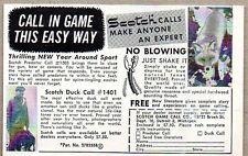 1960 Print Ad Scotch Predator & Duck Game Calls Made in Detroit,MI