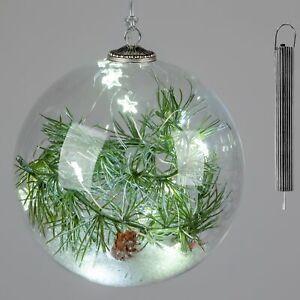 LED Kugel TANNENWALD zum hängen D. 15cm mit Timer aus Glas Formano W20