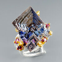 Fine Art Jewerly Natural Bismuth 925 Sterling Silver Ring Size 8/R116982