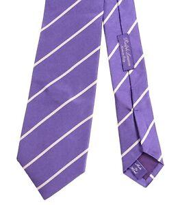 RLPL Ralph Lauren Purple Label Satin Silver Ribbon Stripe Glossy Woven Silk Tie