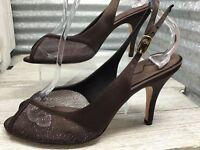 Nina Women's Brown Satin Mesh Glitter Peep toe Sling Back Dress Heel Size 7.5