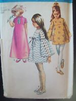 Simplicity Pattern 8524 Bell Shaped Sleeve Dress Two Lengths Cut Size 7 c. 1960s