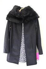 NWT Betsey Johnson Black Snow Leopard Reversible Faux Fur Wool Coat XS $280