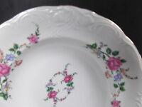 "7 Royal Kent Poland Rose Rimmed Soup Bowls 8"" Embossed Pristine Condition"