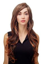 Wig Black-Brown-Mix Curls Wavy Lang Side Part 27 5/8in 9204s-2t114