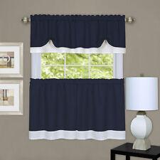 Darcy 3 pc tier & valance set kitchen curtain textured double layer navy /white