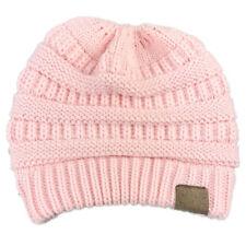 Women Girl High Bun Ponytail Stretchy Knitted Beanie Hat Winter Warm Ski Cap