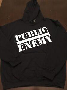 Public Enemy Hoodie Sz 4XL Black Vinyl Print  Supreme NEW Hip Hop XXXXL Mens