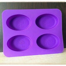 4-Oval Tree Fairy Soap Mould Flexible Silicone Cookie Mold Chocolate Mould DF