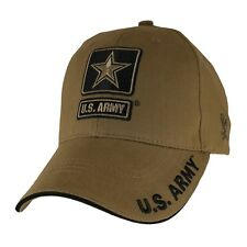 Military US Army Star Hat  Embroidered Mens Cap Coyote Brown