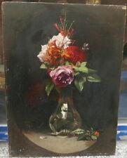 Superbe Tableau Huile Bouquet de Fleurs Roses Milieu XIXe Anonyme à identifier