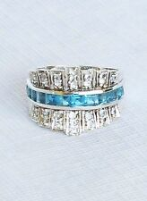 Victoria Wieck Womens 925 Sterling Silver Ring Genuine Blue White Topaz Sz 9 1/4
