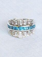 Victoria Wieck Womens 925 Sterling Silver Ring Genuine Blue White Topaz Sz 9 1/4