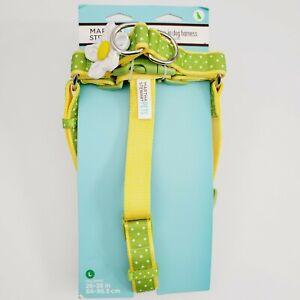 Martha Stewart Pets® Green Yellow White Polka-dots Step-In Dog Harness Sz L New