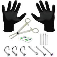 15pcs PRO 18G Piercing Kit Body Gauge Nose Screw Stud Needles Gloves Clamps