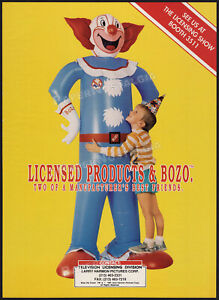 BOZO THE CLOWN__Original 1991 Trade AD / poster__LARRY HARMON Pictures_licensing