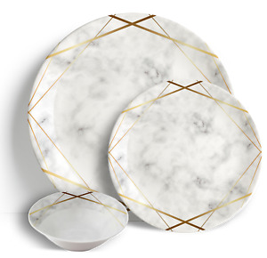 """Gold Marble - 18 Piece Dinner Set 10.5"""" Plates 7.5"""" Side Plates 7"""" Bowls"""