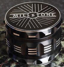 "Millstone Tobacco Herb Grinder, 2.5"", 4-Piece, Large Storage, Magnet Top - BLACK"