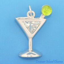 MARTINI GLASS MIXED DRINK COCKTAIL WITH CZ CRYSTALS .925 Sterling Silver Charm