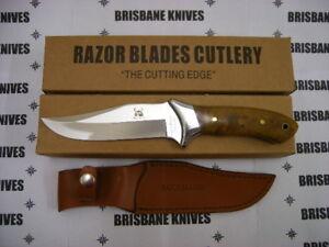RAZOR BLADES LARGE BURL WOOD STAINLESS SKINNING DEER HUNTING KNIFE RB008 2nds