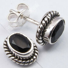 """925 Sterling Silver BLACK ONYX Old Style Oxidized Cute Studs Post Earrings 0.4"""""""